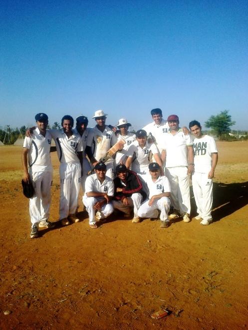 Standing (L to R): Gaurav, Shoukath, Gautam R, Bhadresh, Jobin (VC), Kaustubh (C), Goutham, Yugank (WK), SumitSquatting (L to R): Bhargav, Dinesh, Jugpreet