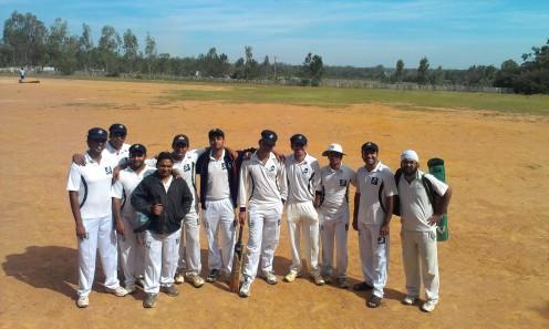 (L to R): Badri, Srikrishnan, Bhargav, Prithvik, Shoukath, Yugank (WK), Kaustubh (VC), Goutham (C), Jobin, Ananth, Jugpreeth