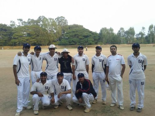 Standing (L to R): Badri, Goutham, Kaustubh (C), Jobin (VC), Ananth, Harsha (W/K), Bhadresh, VinaySquatting (L to R): Bhargav, Joy, Dinesh