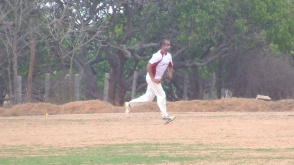 Pruthvi bowled his 4 overs up front accounting for 2 top-order wickets