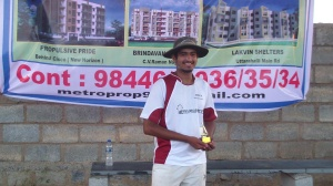 Karthik with the Performer of the Match trophy for his fine all-round contribtion.