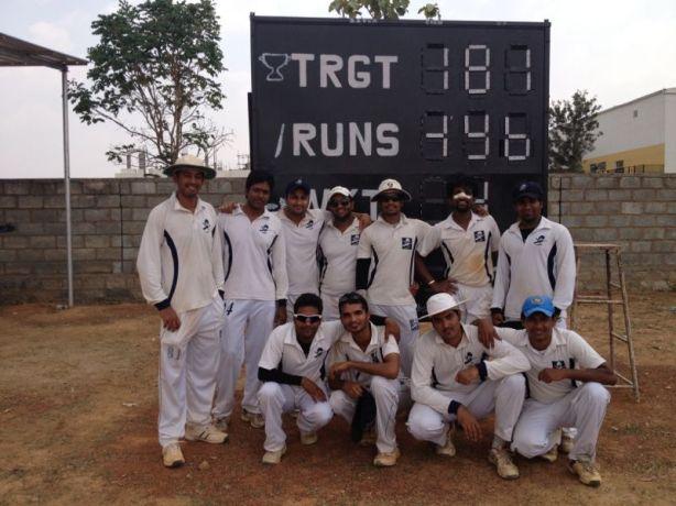 Standing (L to R): Goutham, Gokul, Ashish, Bhargav, Jobin, Muthu (WK/VC), Gautam R Squatting (Lto R): Gaurav R, Dinesh, Kaustubh (C), Dinesh